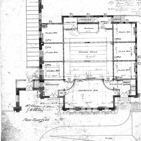 First Presbyterian Church--Church and School - No. 10 - First Floor Plan