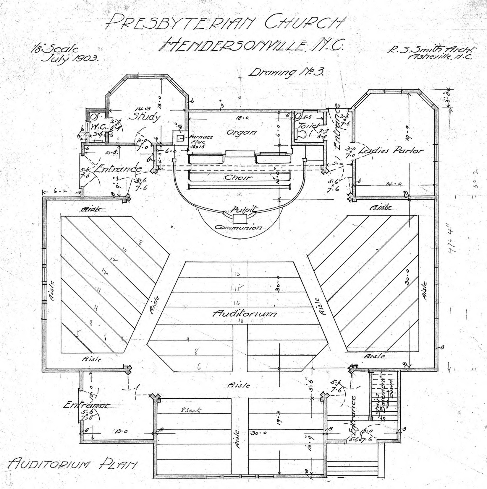 Presbyterian Church Auditorium Plan Drawing No 3