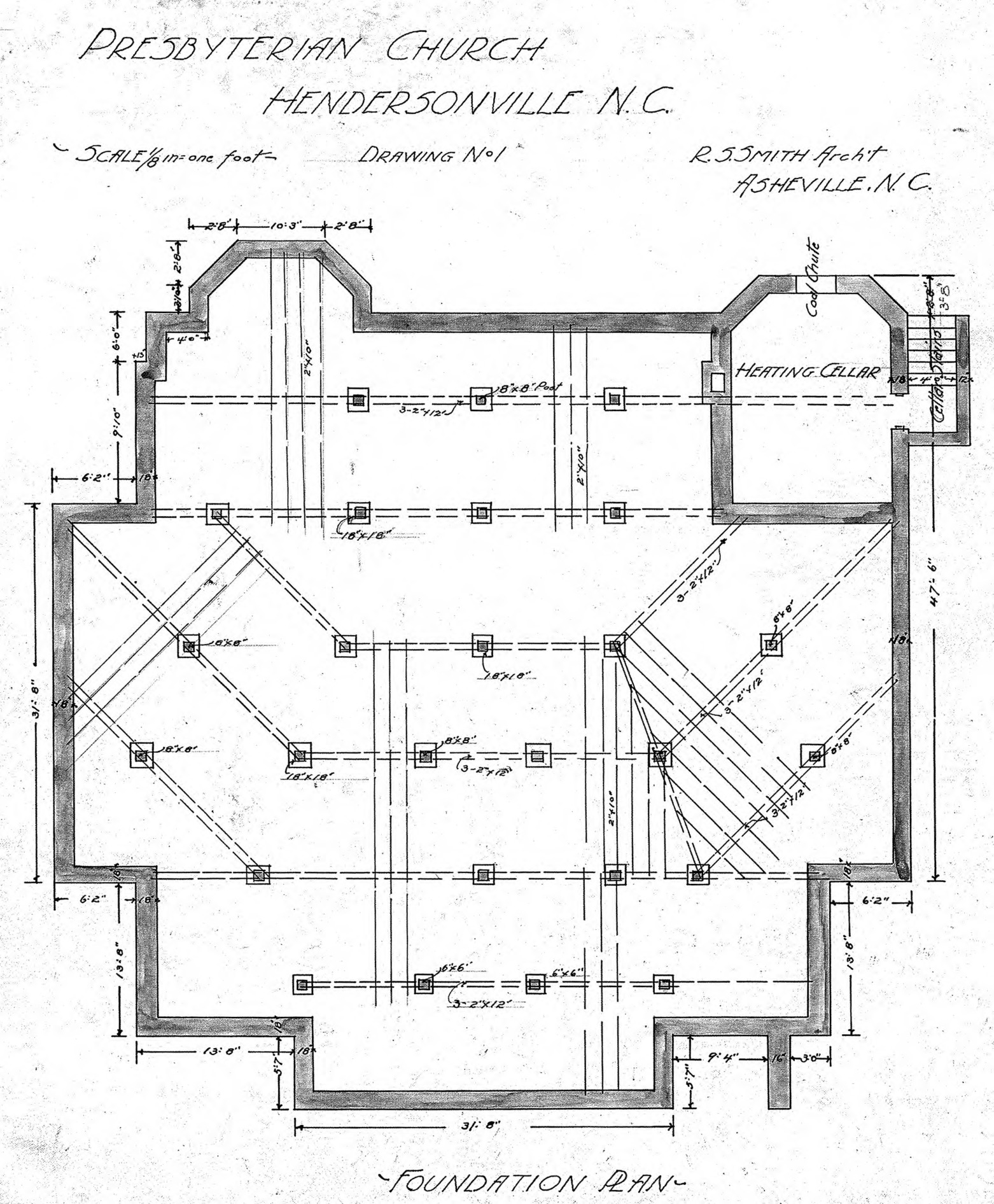 Presbyterian church foundation plan drawing no 1 for Foundation plan drawing
