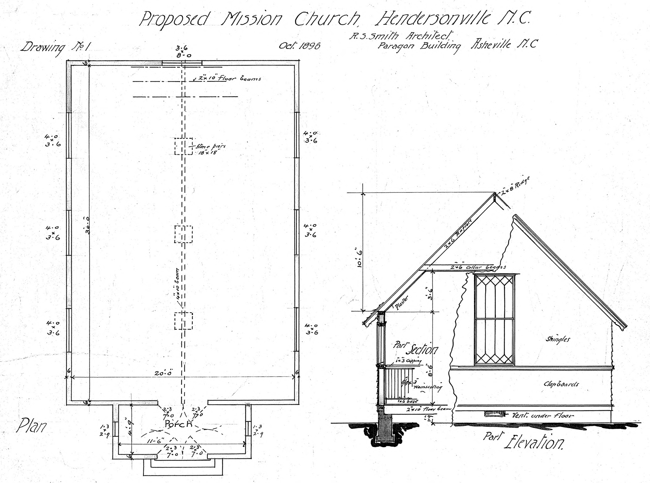 Church Elevation Plan : Proposed mission church plan part elevation