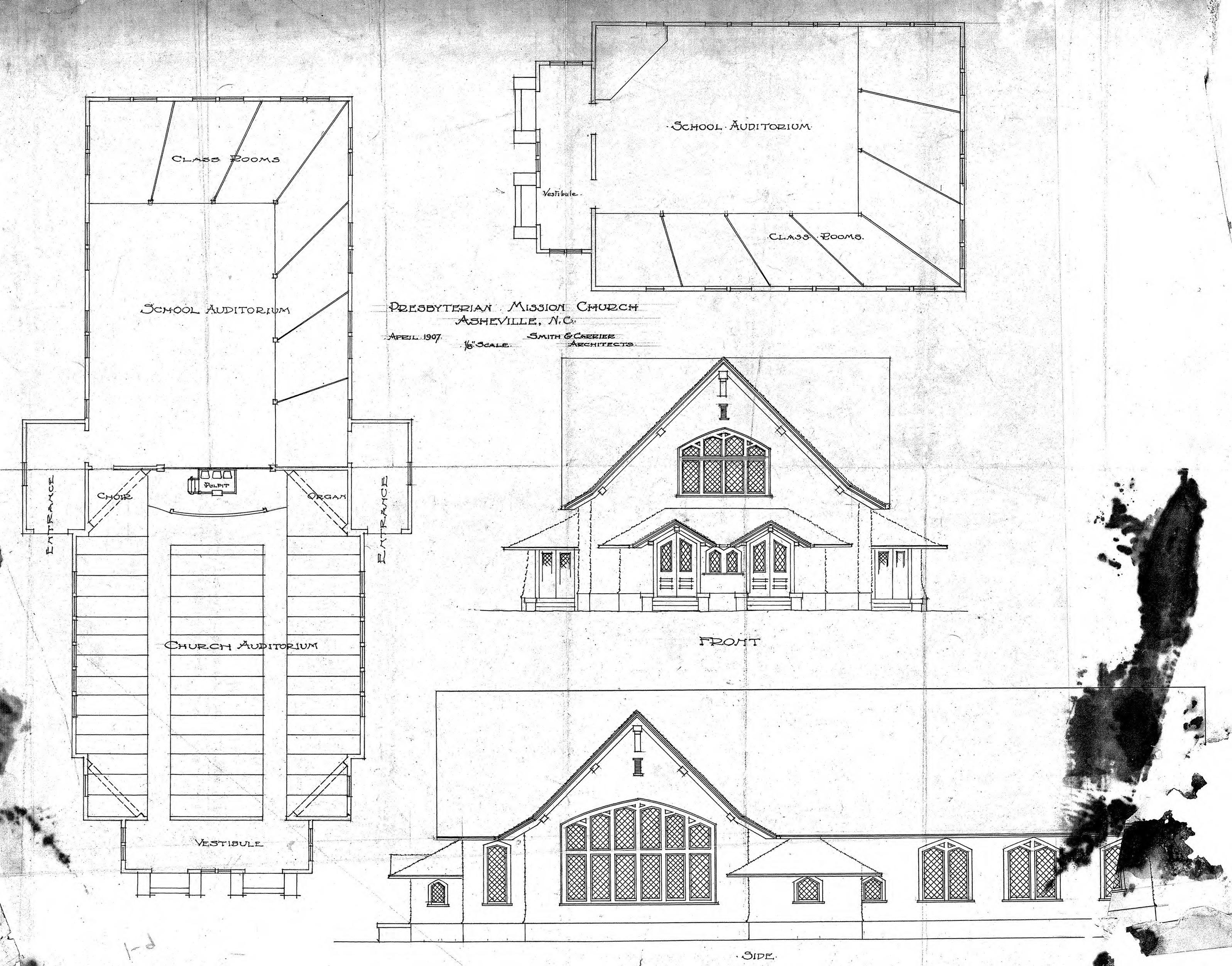 Church Elevation Plan : Presbyterian mission church floor plans and elevations