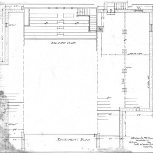 Alterations to M - E - Church--Balcony and Basement Plan