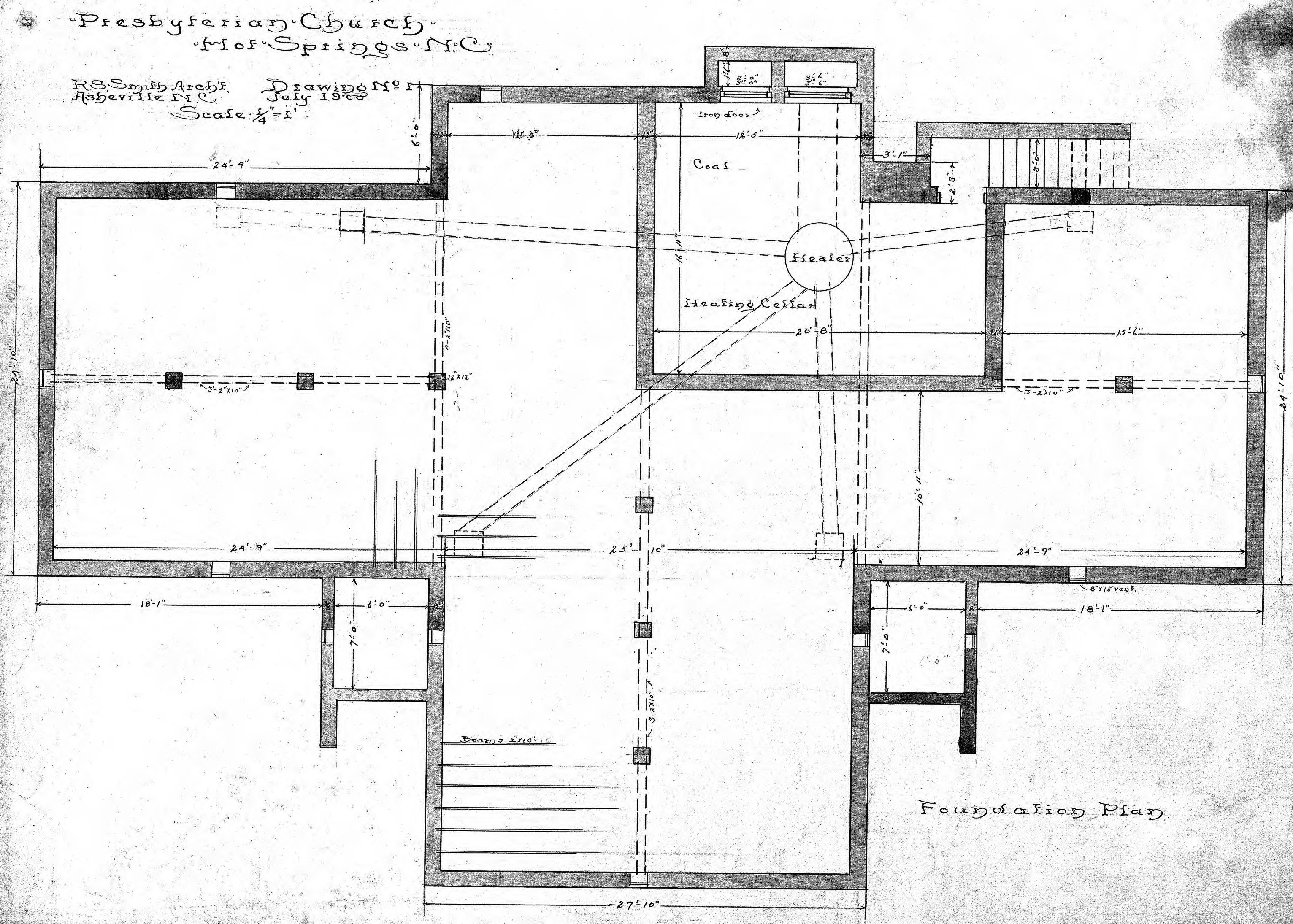 presbyterian church foundation plan drawing no 1
