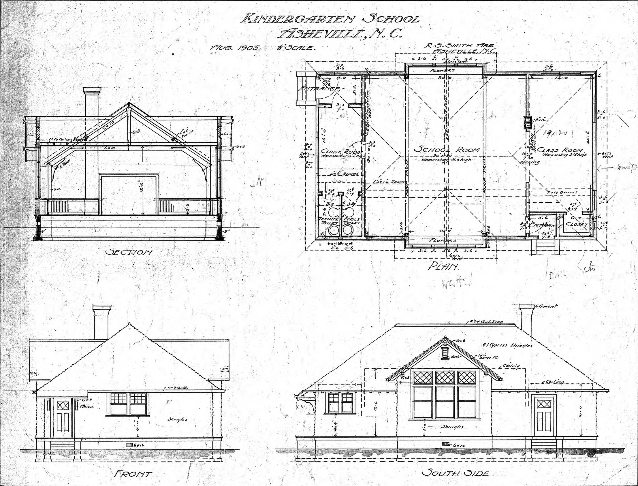 kindergarten school section plan and elevations lindley