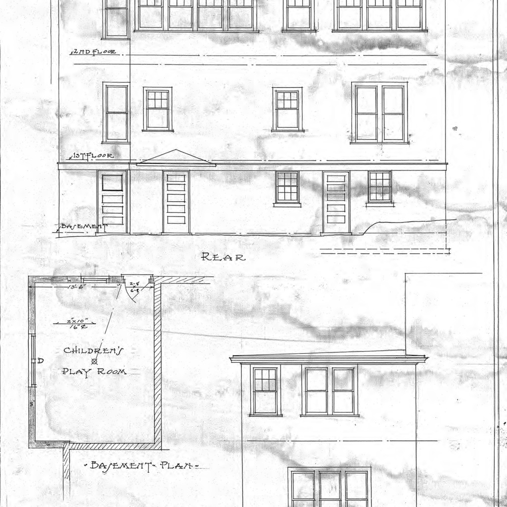 Additions to Residence of Dr. E.B. Glenn--Rear- Side- & Basement Plan