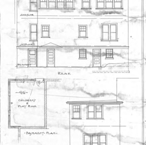 Additions to Residence of Dr. E.B. Glenn--Rear- Side- & Basement Plan