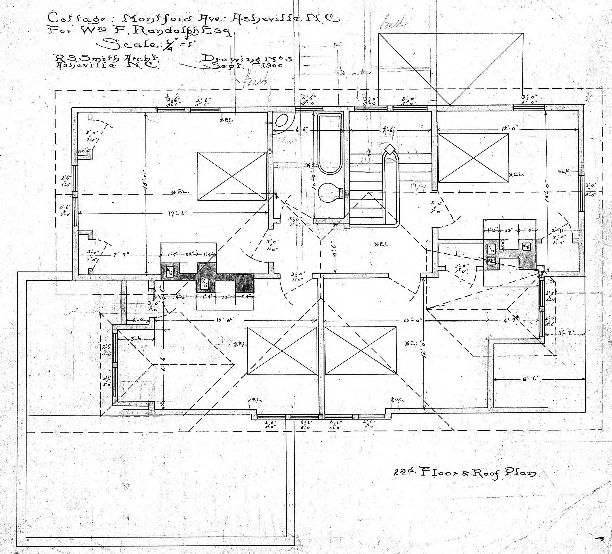 Cottage montford ave wm f randolph 2nd floor roof for Roof plan drawing
