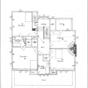 A Residence- Watauga St.- for Mrs. A.F. Hall--Second Floor Plan