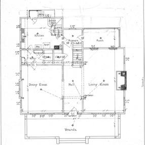 A Residence- Watauga St.- for Mrs. A.F. Hall--First Floor Plan