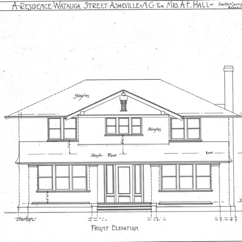 A Residence- Watauga St.- for Mrs. A.F. Hall--Front Elevation