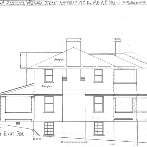 A Residence- Watauga St.- for Mrs. A.F. Hall--Elevation- Right Side