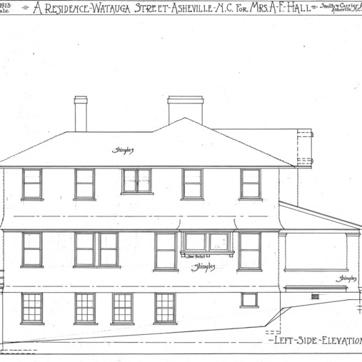 A Residence- Watauga St.- for Mrs. A.F. Hall--Left Side Elevation