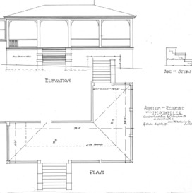 Addition to Residence for J.H. Powell- Cumberland Ave. & Cullowhee Pl.-Elevation & Plan