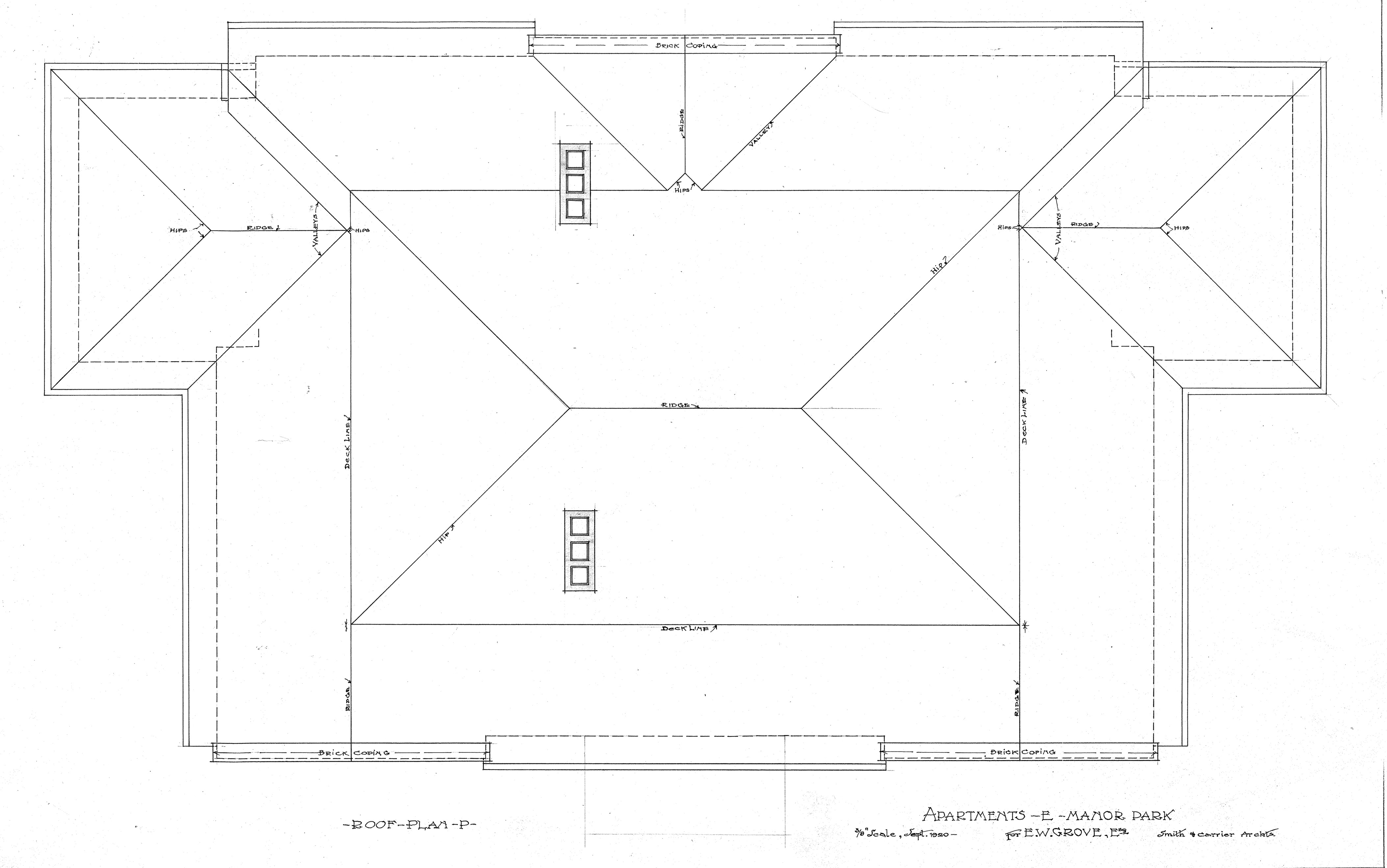 Apartment house albemarle park for e w grove roof plan for Roof plan drawing