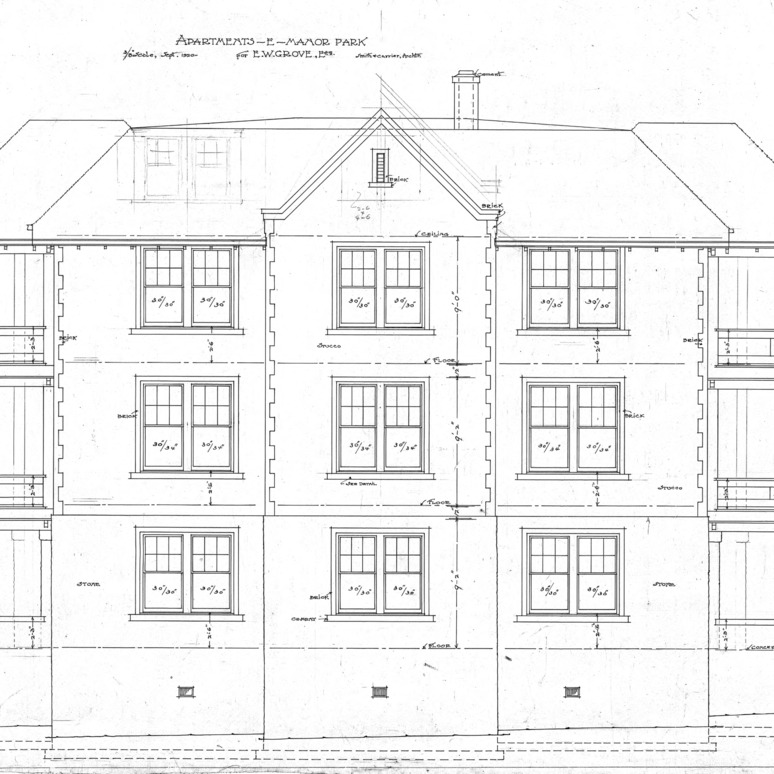 Apartment House- Albemarle Park- for E.W. Grove--Elevation