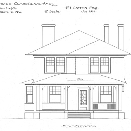 Residence- Cumberland Ave.- for E.L. Gaston--Front Elevation