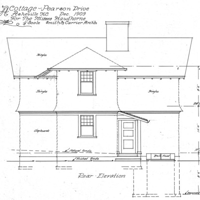 A Cottage- Pearson Drive for the Misses Hawthorne--Rear Elevation