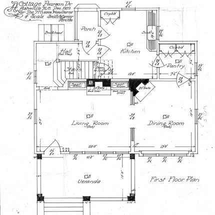 A Cottage- Pearson Drive for the Misses Hawthorne--First Floor Plan