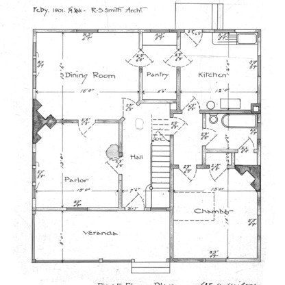 A Cottage- Bearden Ave.- for Mr. E. Bruns--First Floor Plan