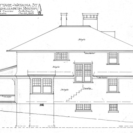 A Cottage- Watauga St.- for Mrs. Elizabeth Bolton-Side Elevation