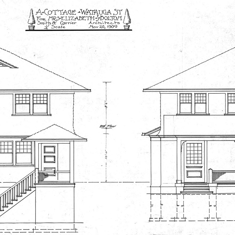 A Cottage- Watauga St.- for Mrs. Elizabeth Bolton-Elevations