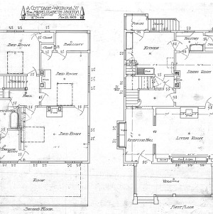 A Cottage- Watauga St.- for Mrs. Elizabeth Bolton-Second & First Floor Plan