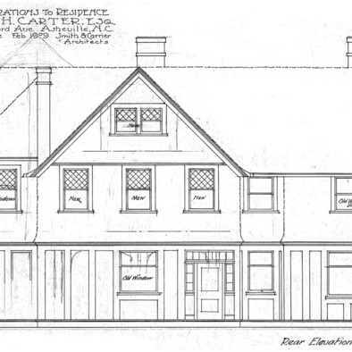 Additions to Residence for J.H. Carter Esq.--Rear Elevation