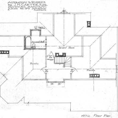Additions to Residence for J.H. Carter Esq.--Attic Floor Plan