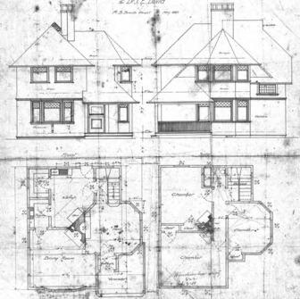 Cottage - E Chestnut St. For Dr. J. E. Davis--First and Second Floor Plan