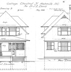 Cottage Chestnut St. For Dr. J. E. Davis--Front and Real Elevation