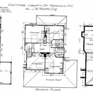 Cottage - Liberty St. - For J.W. Moore--First- Second- and Basement Plan