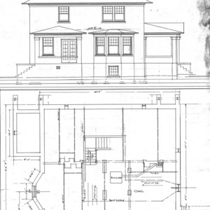 Residence - Liberty and Hillside - For S. H. Chedester--Elevation and Floor Plan