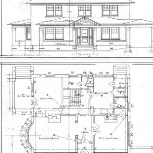 Residence - Liberty and Hillside - For S. H. Chedester--Front Elevation and 1st Floor Plan