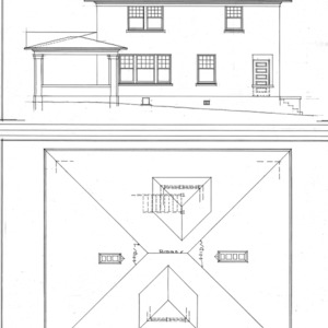 Residence - Liberty and Hillside - For S. H. Chedester--Elevation and Roof Plan