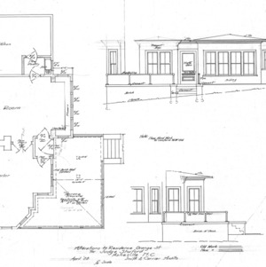 Alterations to Residence Orange St for Judge Shuford-Floor Plan and Elevation