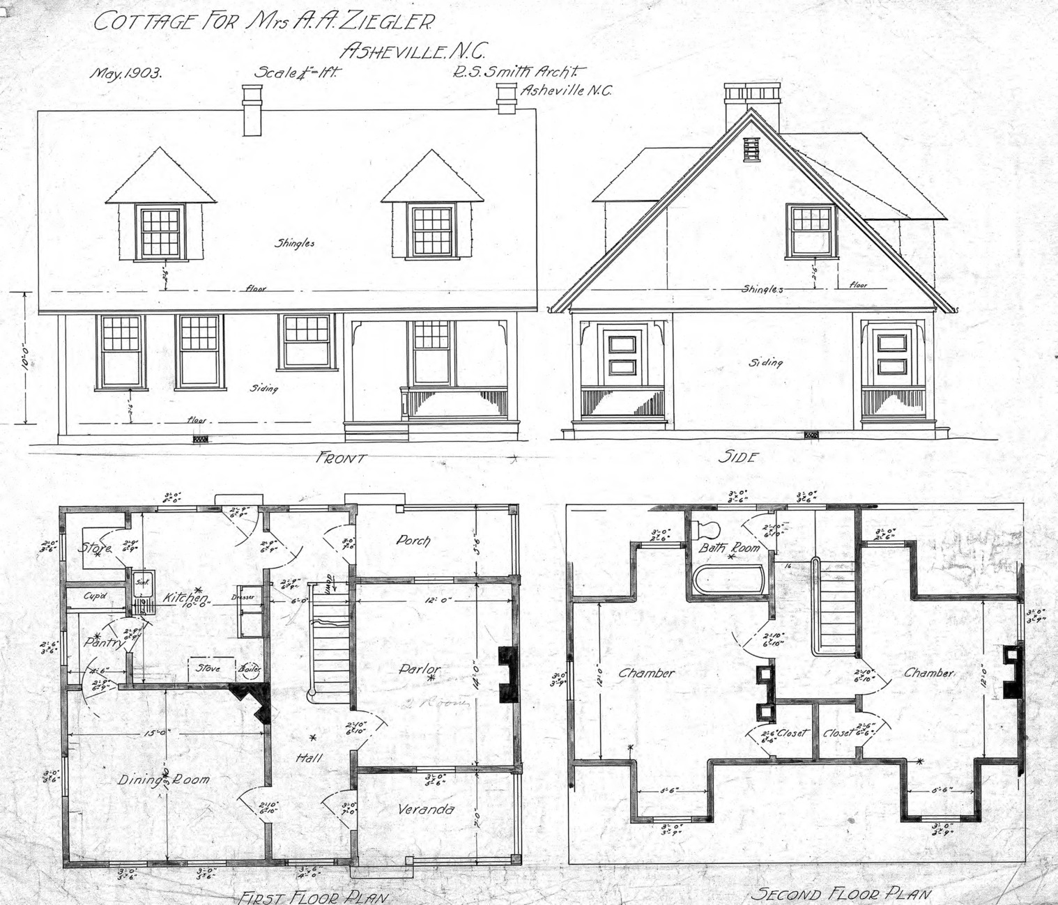 Cottage For Mrs Ziegler Hillside Street Front Side First And Second Floor Plan Ziegler