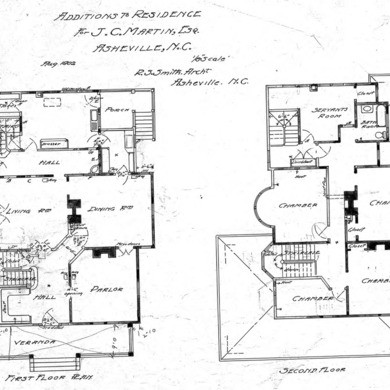 Additions to Residence For J. C. Martin - Chestnut St.--First and Second Floor Plan