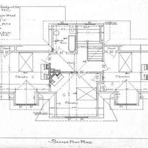 Cottage - Chestnut St. - For Miss Annie West--Second Floor Plan