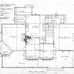 Cottage - Chestnut St. - For Miss Annie West--First Floor Plan