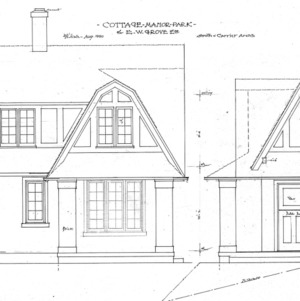 """Cottage - Manor Park for E.W. Grove - """"Chipmunk Cottage""""--Front and Side"""