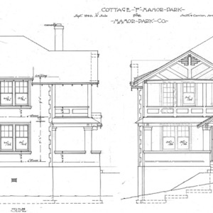 """Cottage """"F"""" Manor Park - for Manor Park Co.--Foundation--Front and Side"""