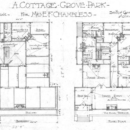 A Cottage Grove Park - for Mr. E. F. Chambless--Basement and Floor Plan