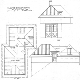 Residence of P.S. Henry--Garage and Greenhouse Plan