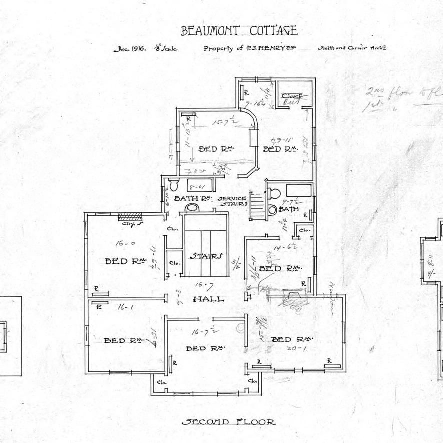 Beaumont Cottage- Property of P.S. Henry-Floor Plans