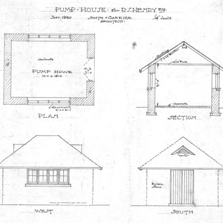 Residence of P.S. Henry--Plan- Section- West- and South