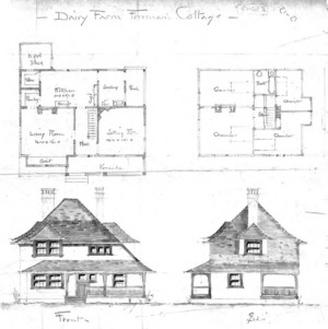 Dairy Farm Foreman's Cottage--Front & Side 1st & 2nd Floor Plan