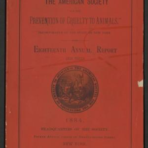ASPCA Eighteenth Annual Report, 1883