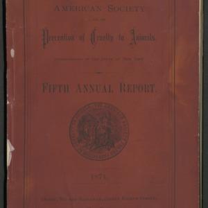ASPCA Fifth Annual Report, 1870