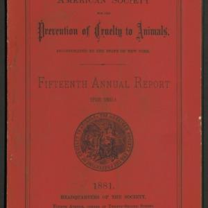 ASPCA Fifteenth Annual Report, 1880