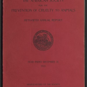 ASPCA Fifty-Fifth Annual Report, 1920